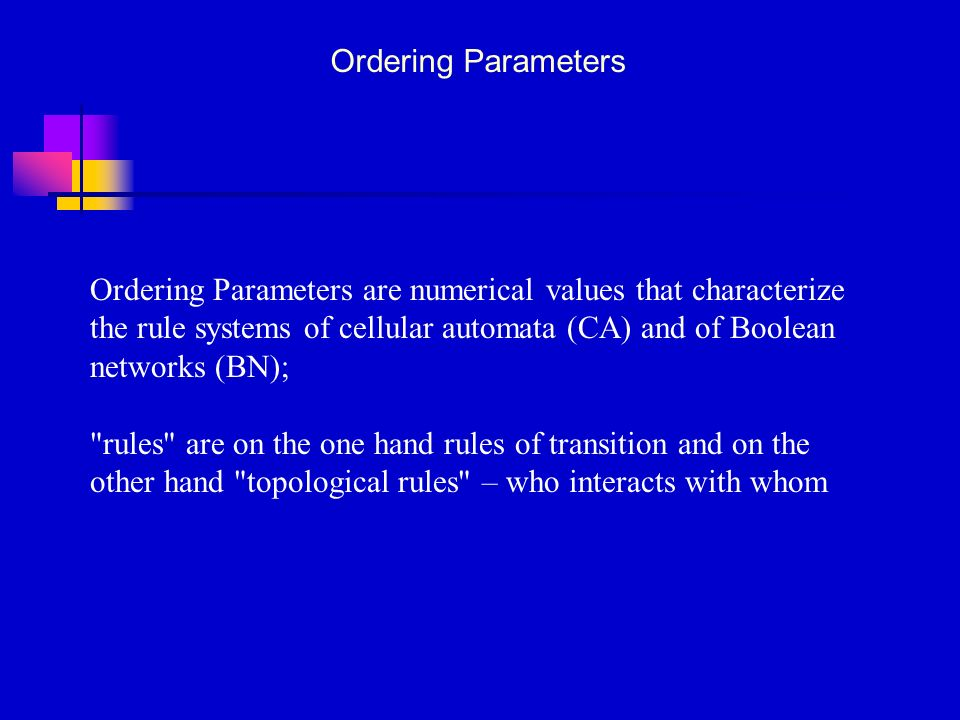 Ordering Parameters