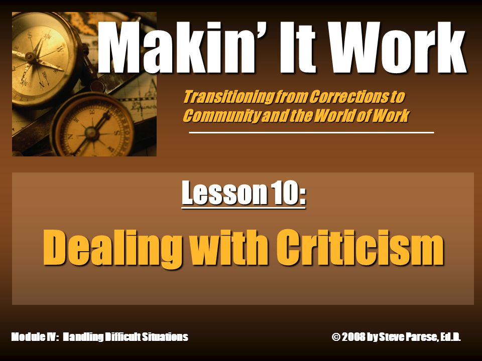 Lesson 10: Dealing with Criticism