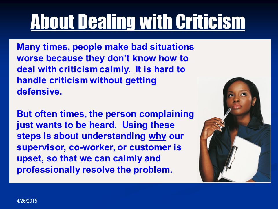 About Dealing with Criticism