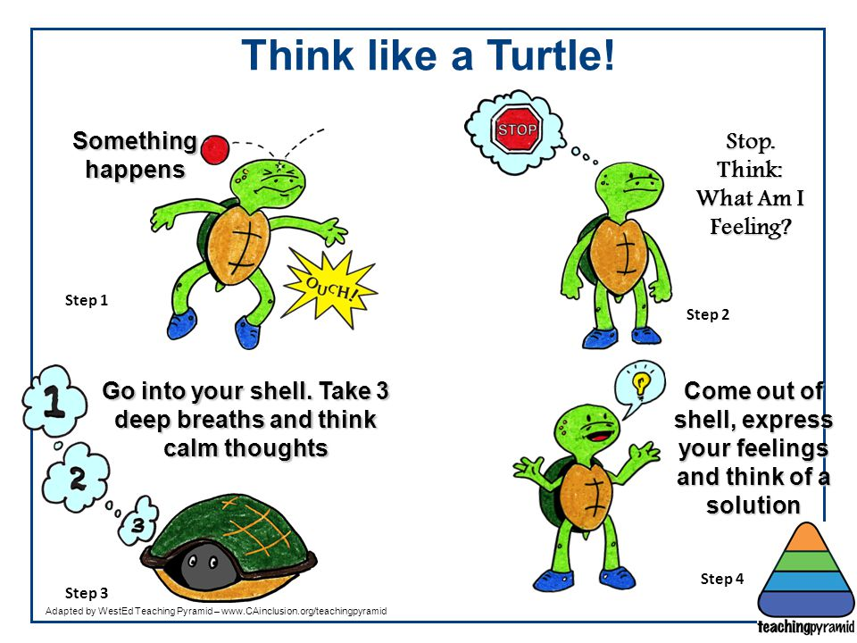 Think like a Turtle! Something happens Stop. Think: What Am I Feeling