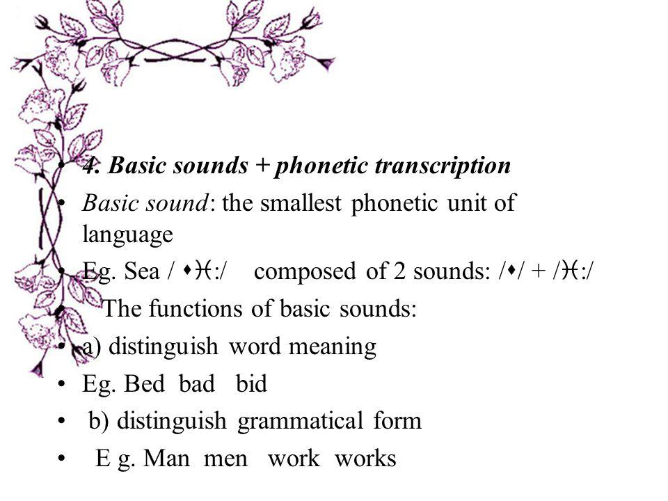 4. Basic sounds + phonetic transcription
