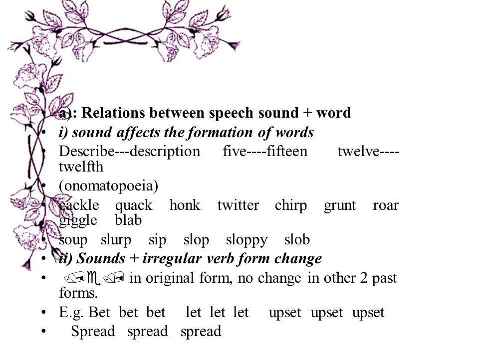 a): Relations between speech sound + word
