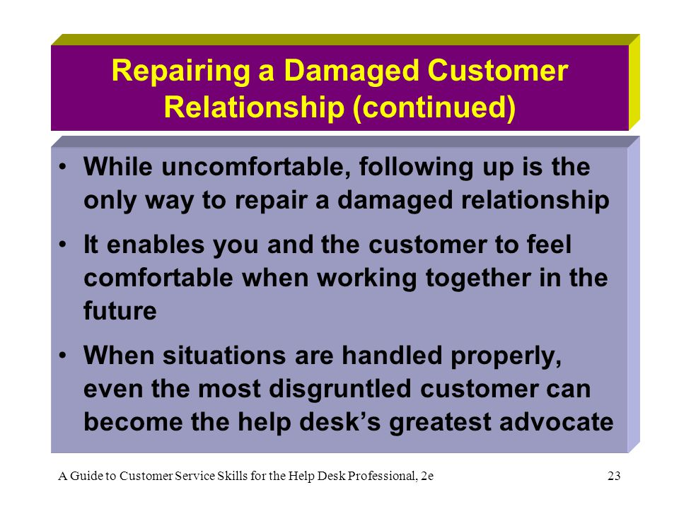 Repairing a Damaged Customer Relationship (continued)