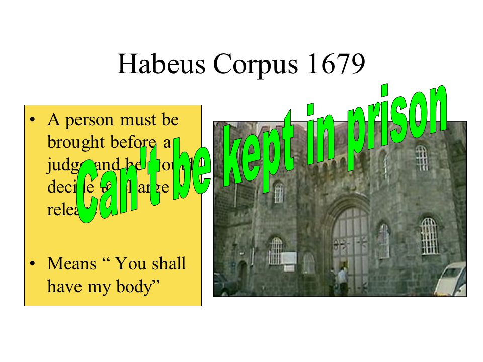 Habeus Corpus 1679 Can t be kept in prison