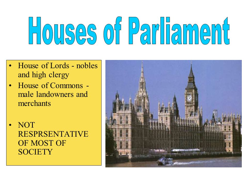 Houses of Parliament House of Lords - nobles and high clergy