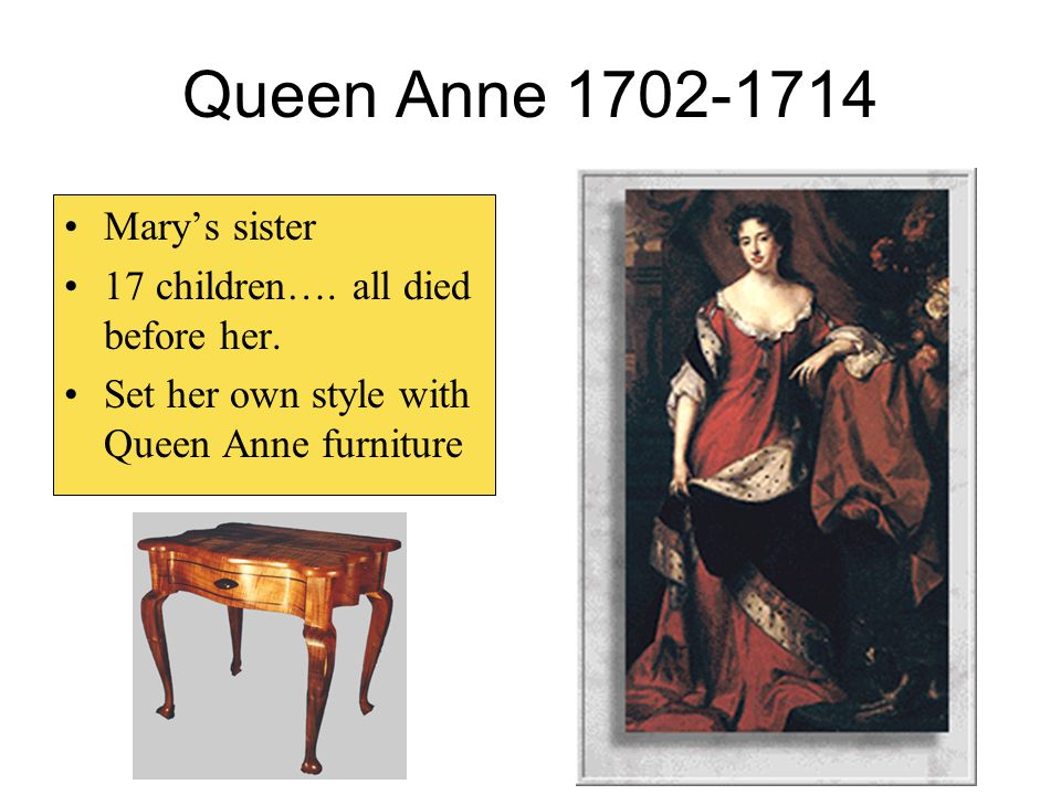 Queen Anne 1702-1714 Mary's sister 17 children…. all died before her.