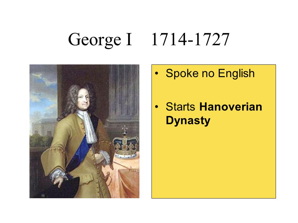 George I 1714-1727 Spoke no English Starts Hanoverian Dynasty