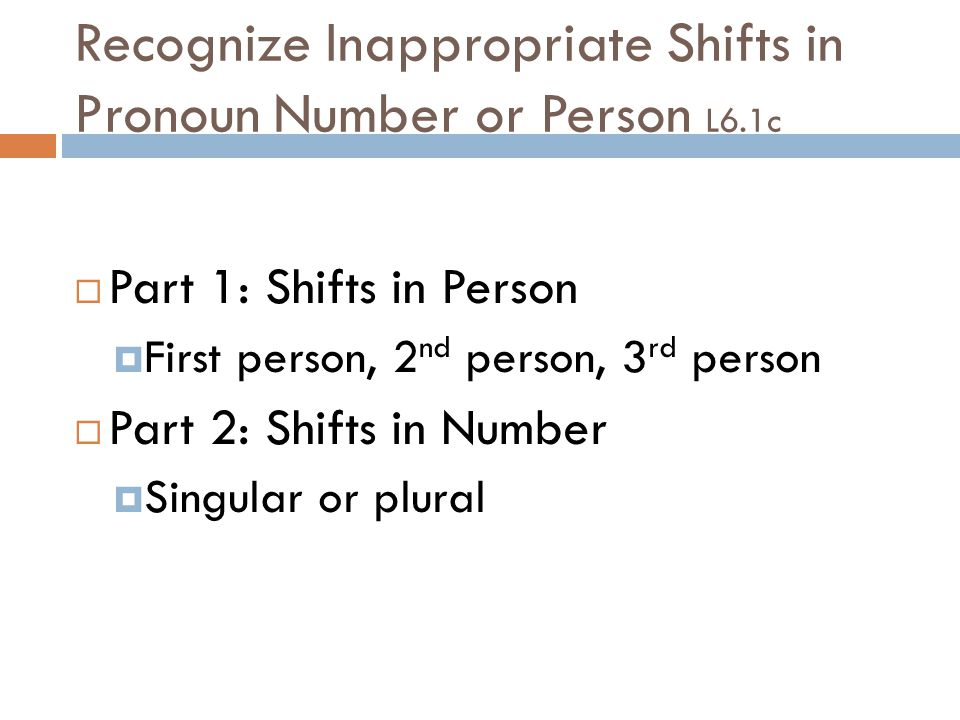 Recognize Inappropriate Shifts in Pronoun Number or Person L6.1c