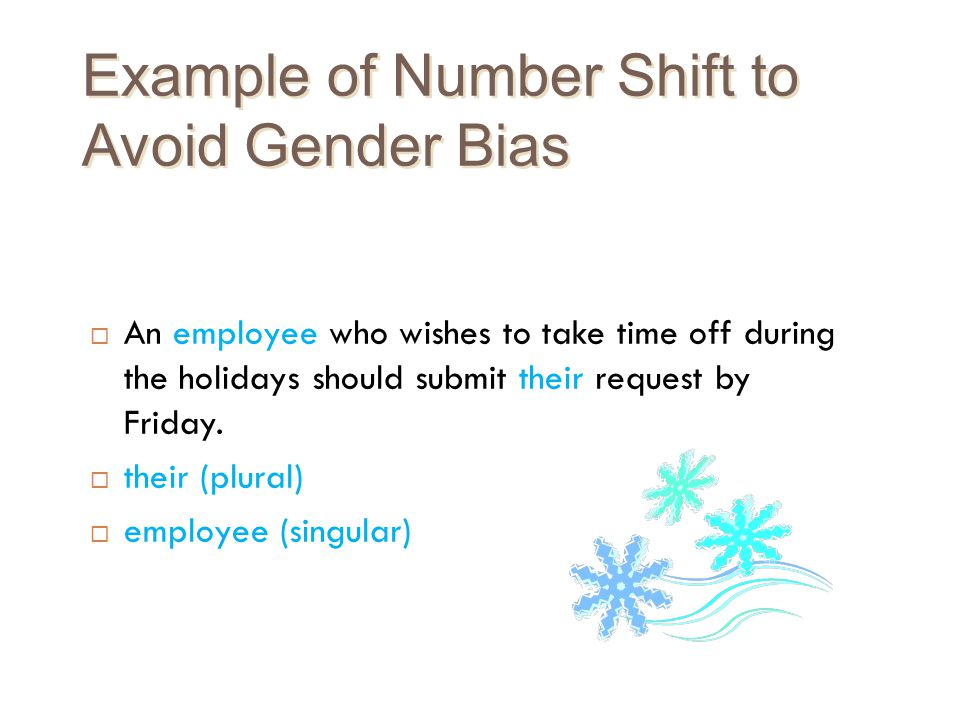 Example of Number Shift to Avoid Gender Bias