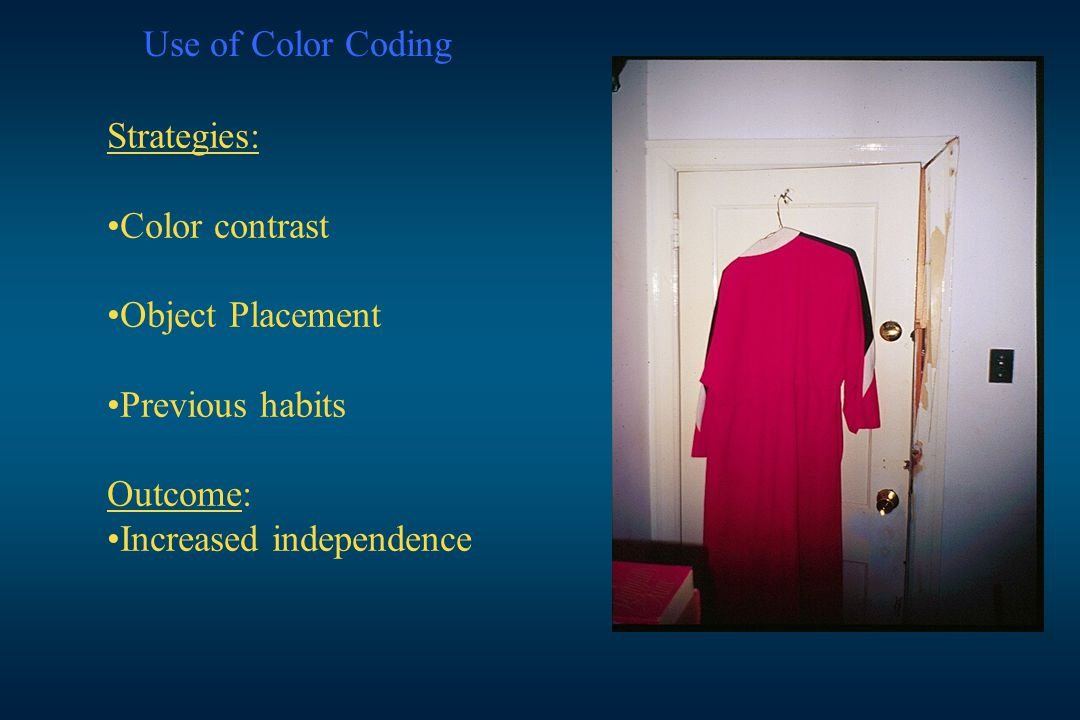 Use of Color Coding Strategies: Color contrast. Object Placement.