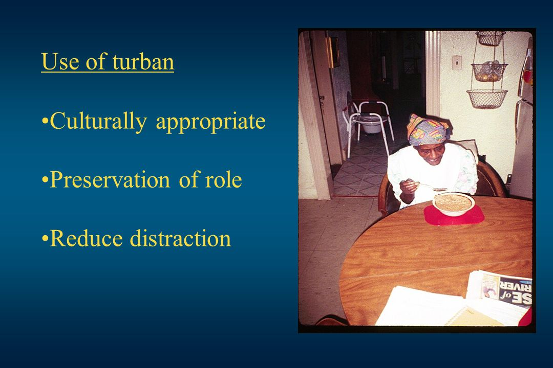 Use of turban Culturally appropriate Preservation of role Reduce distraction