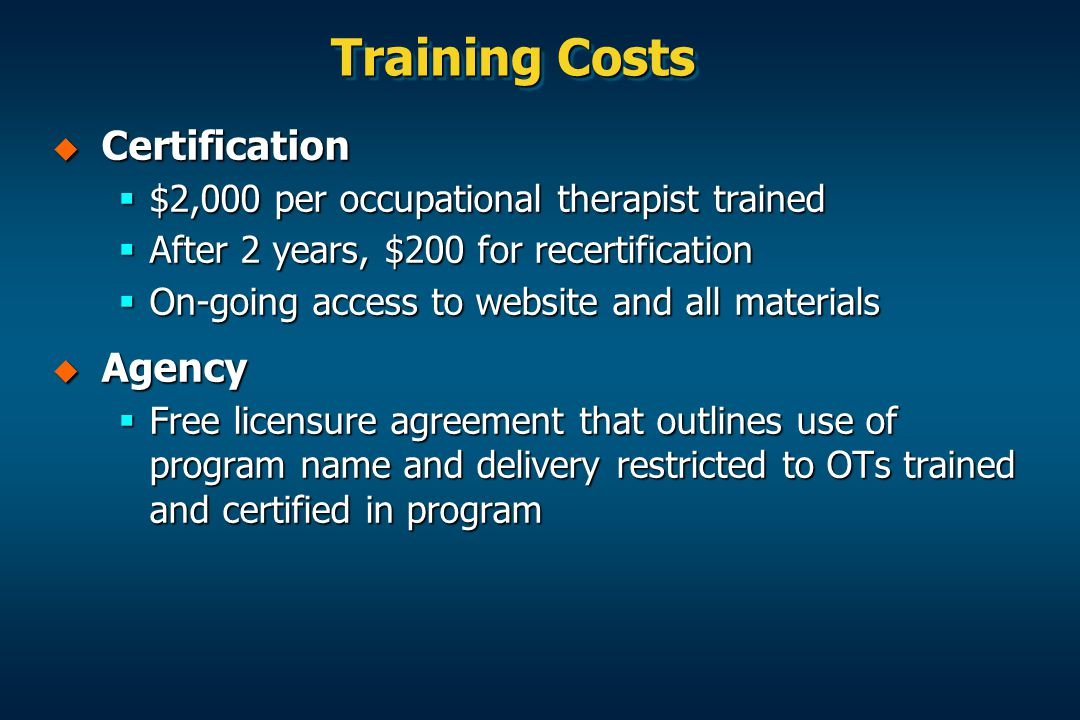 Training Costs Certification Agency