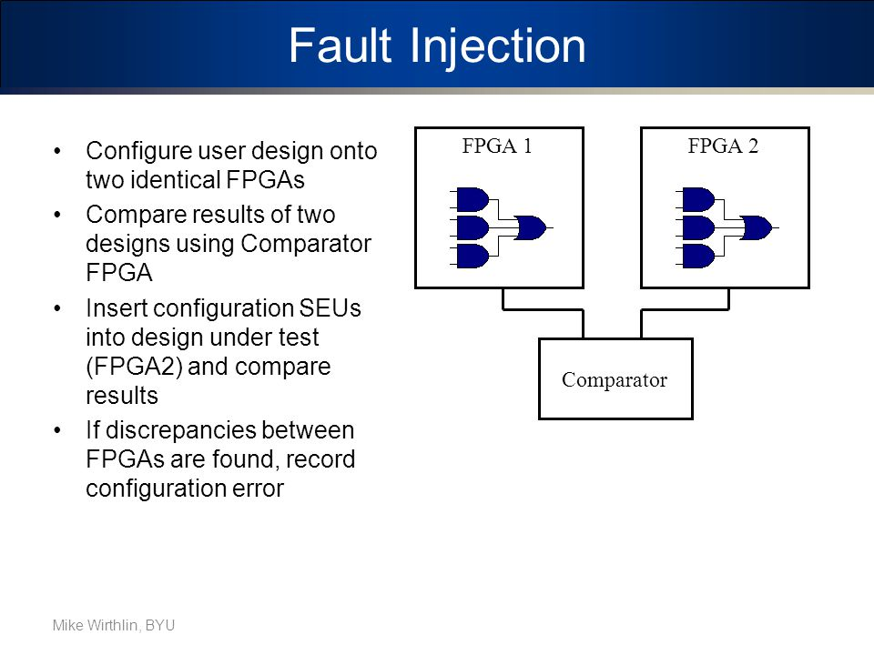 Fault Injection Configure user design onto two identical FPGAs