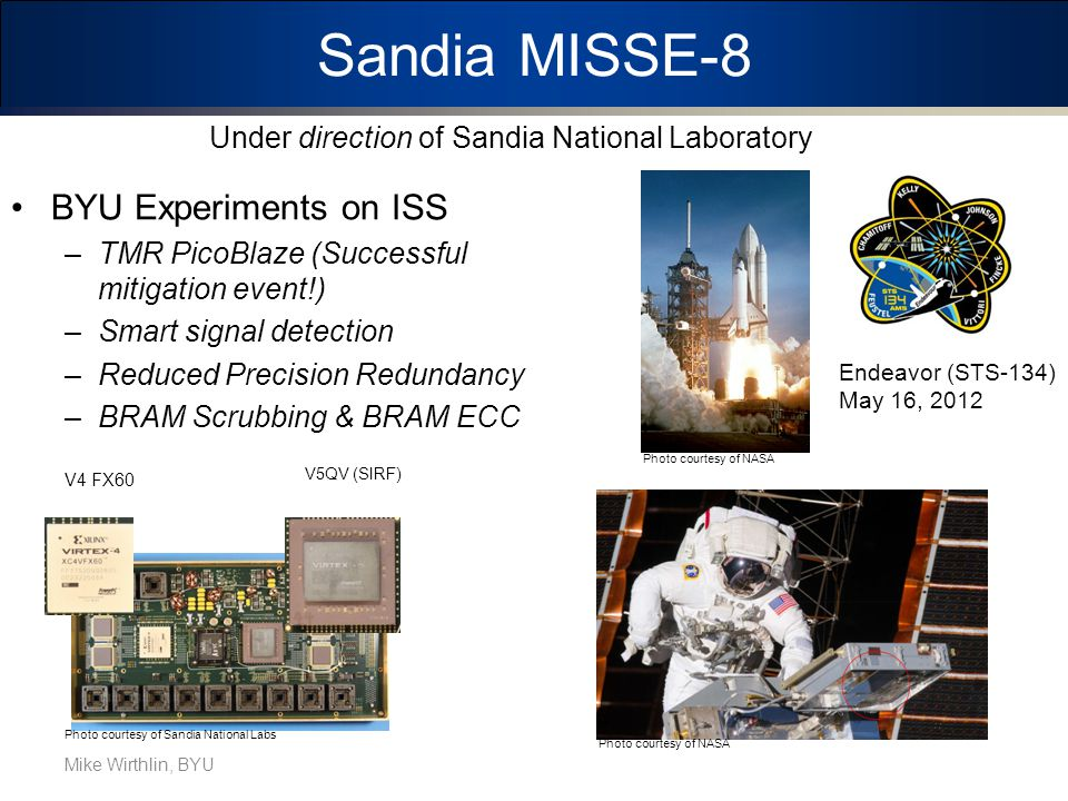 Sandia MISSE-8 BYU Experiments on ISS