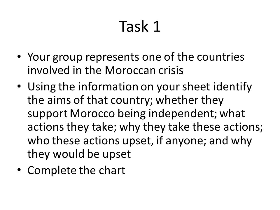 Task 1 Your group represents one of the countries involved in the Moroccan crisis.