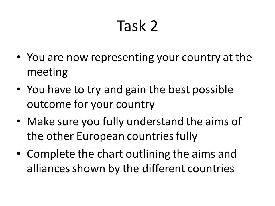 Task 2 You are now representing your country at the meeting