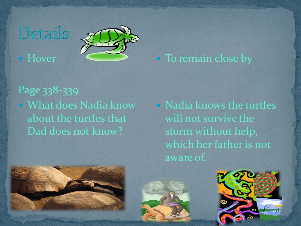 Details Hover. Page 338-339. What does Nadia know about the turtles that Dad does not know To remain close by.