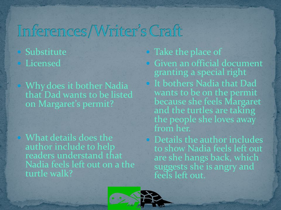 Inferences/Writer's Craft