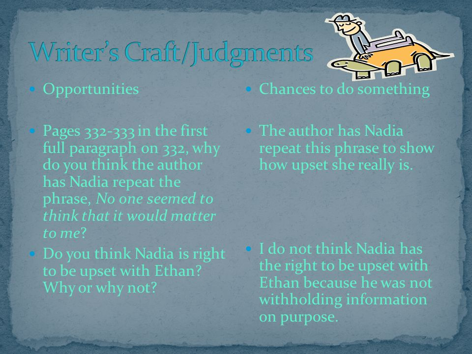 Writer's Craft/Judgments