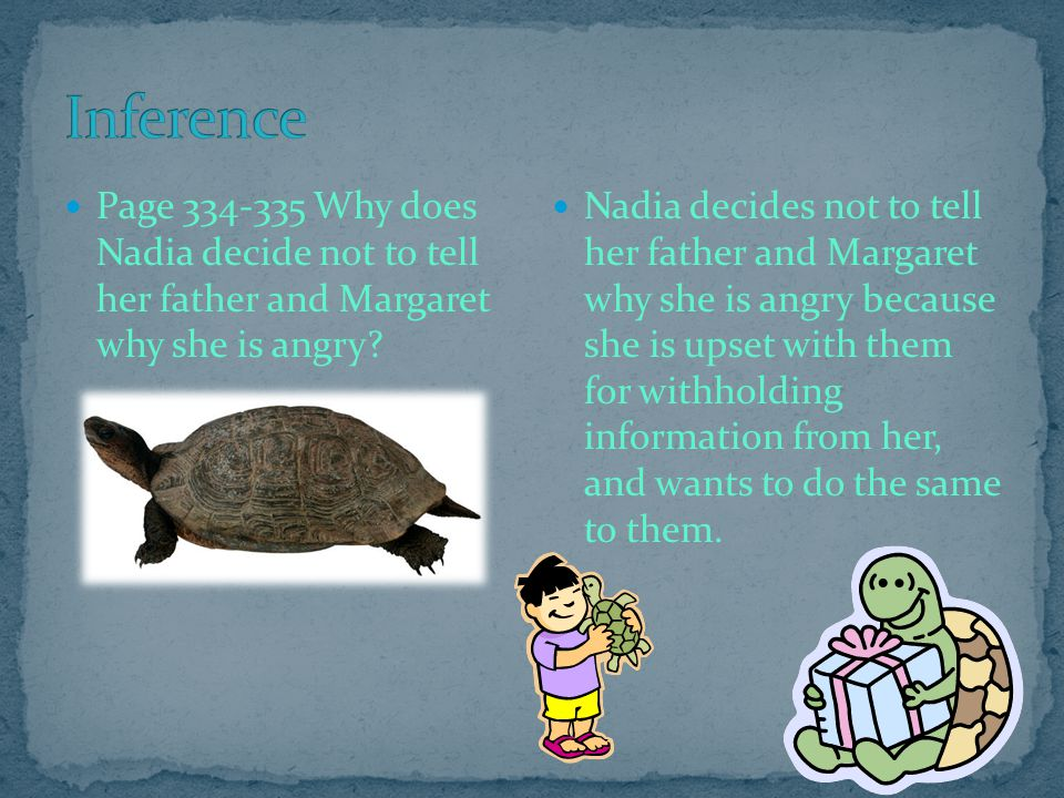 Inference Page 334-335 Why does Nadia decide not to tell her father and Margaret why she is angry