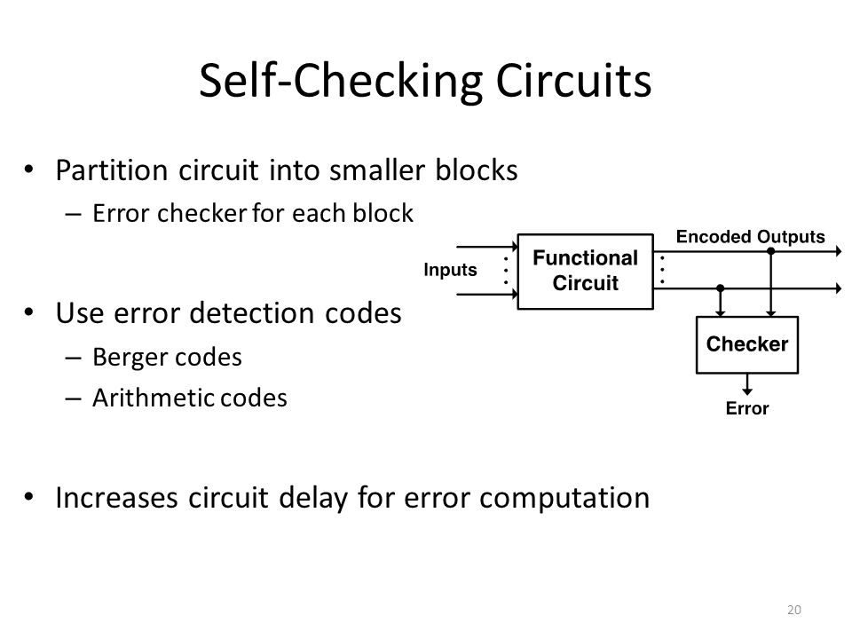 Self-Checking Circuits
