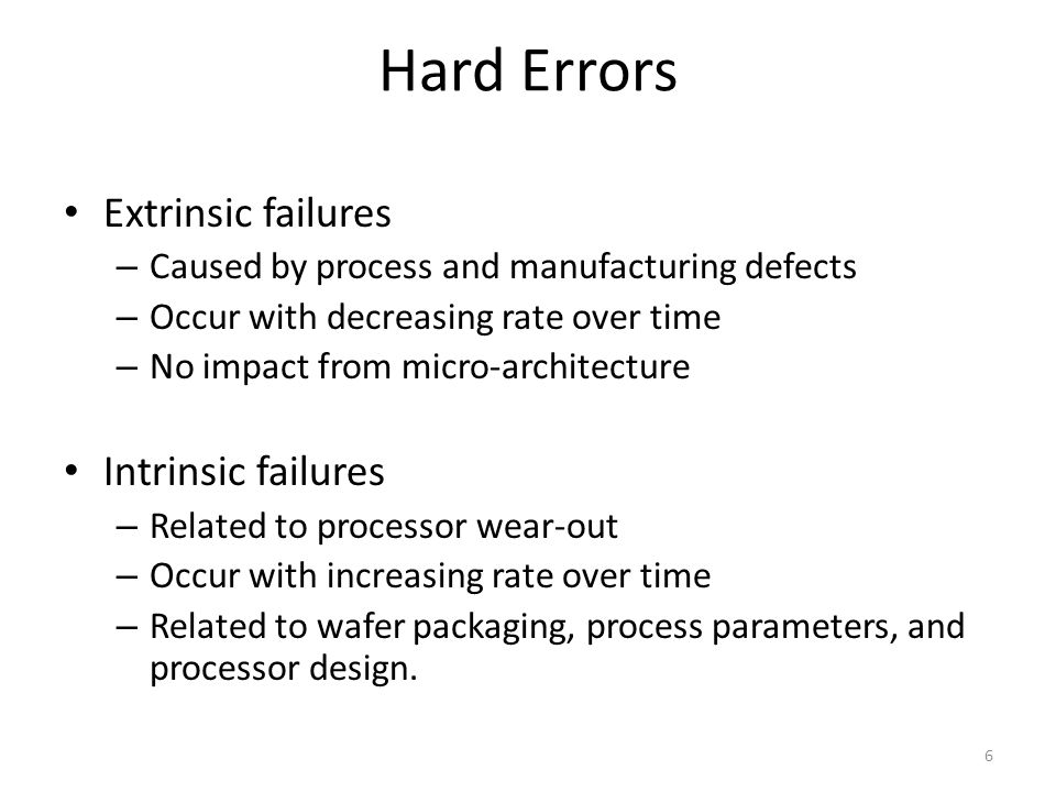 Hard Errors Extrinsic failures Intrinsic failures