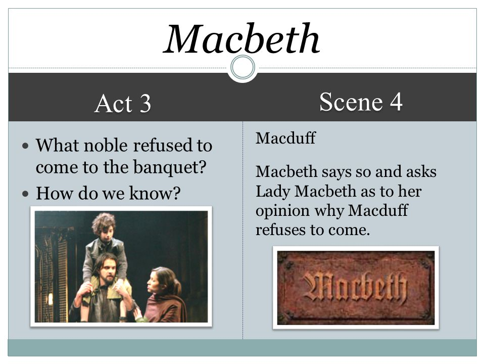 Macbeth Scene 4 Act 3 What noble refused to come to the banquet