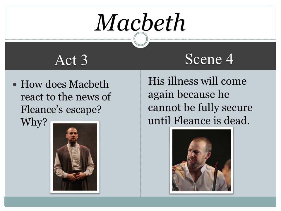 Macbeth Scene 4. Act 3. His illness will come again because he cannot be fully secure until Fleance is dead.