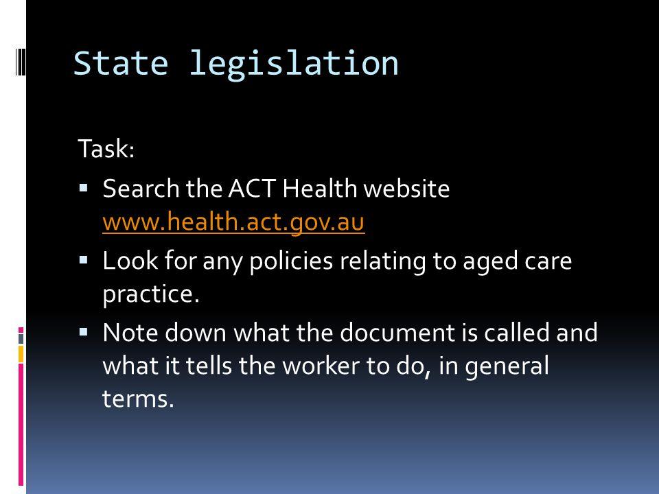 State legislation Task: