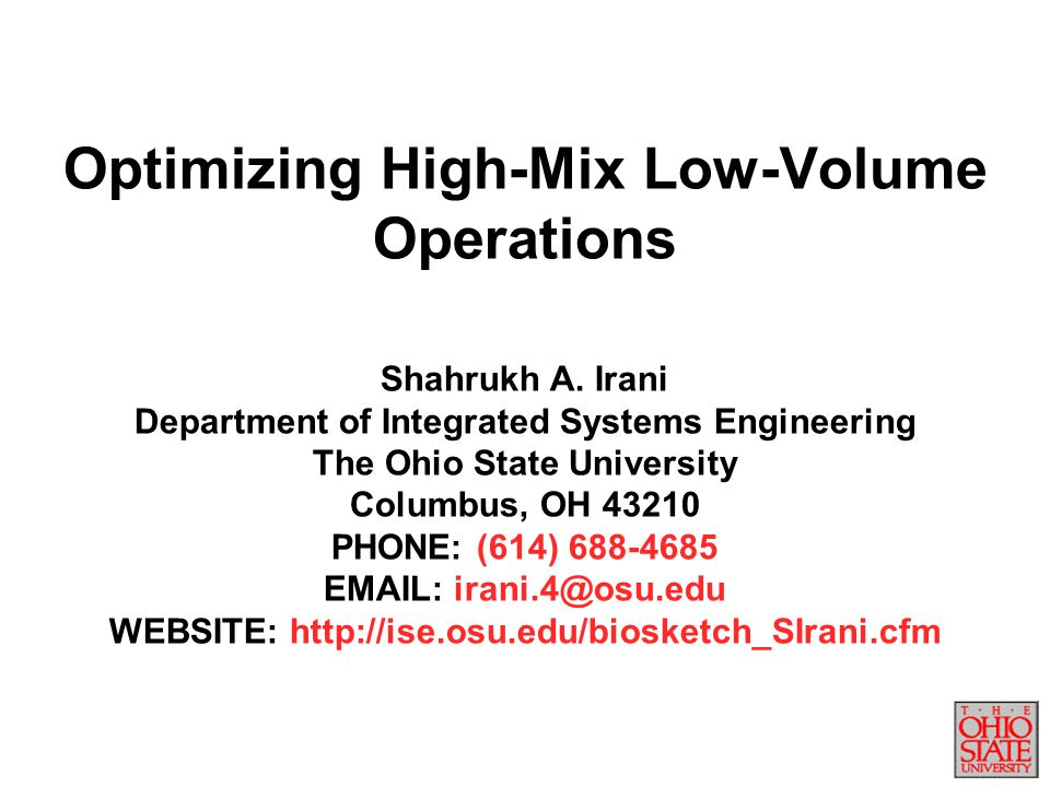 Optimizing High-Mix Low-Volume Operations