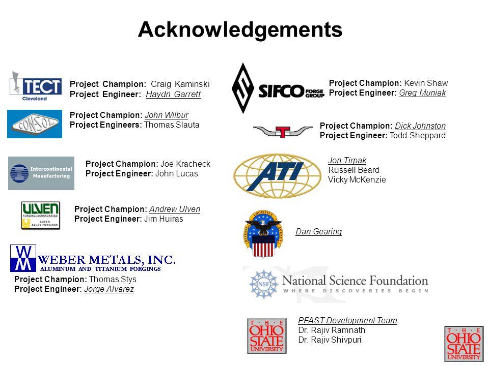 Acknowledgements Project Champion: Craig Kaminski