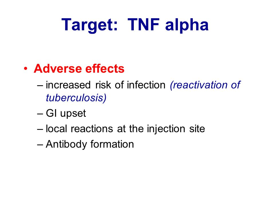 Target: TNF alpha Adverse effects