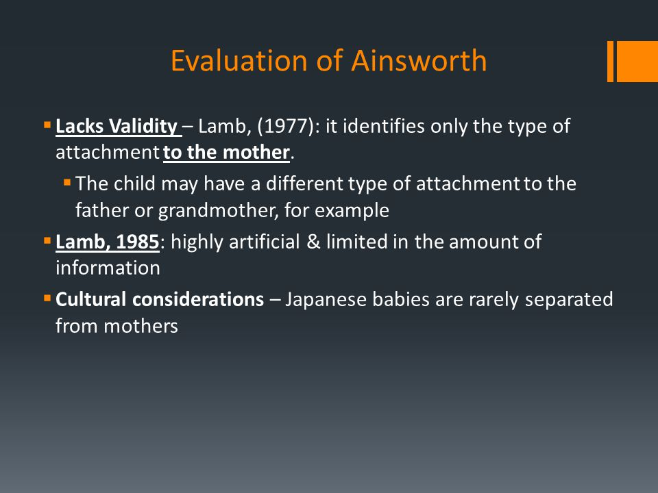Evaluation of Ainsworth