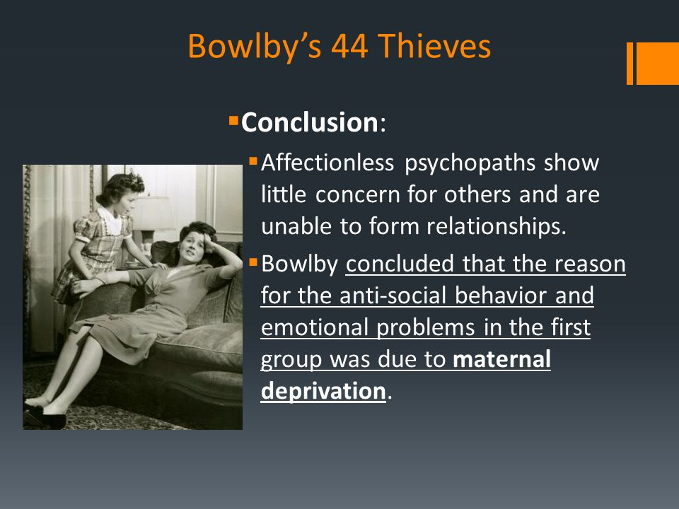 Bowlby's 44 Thieves Conclusion: