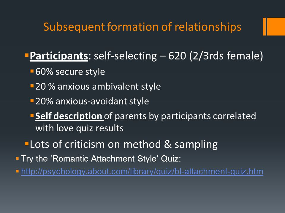 Subsequent formation of relationships