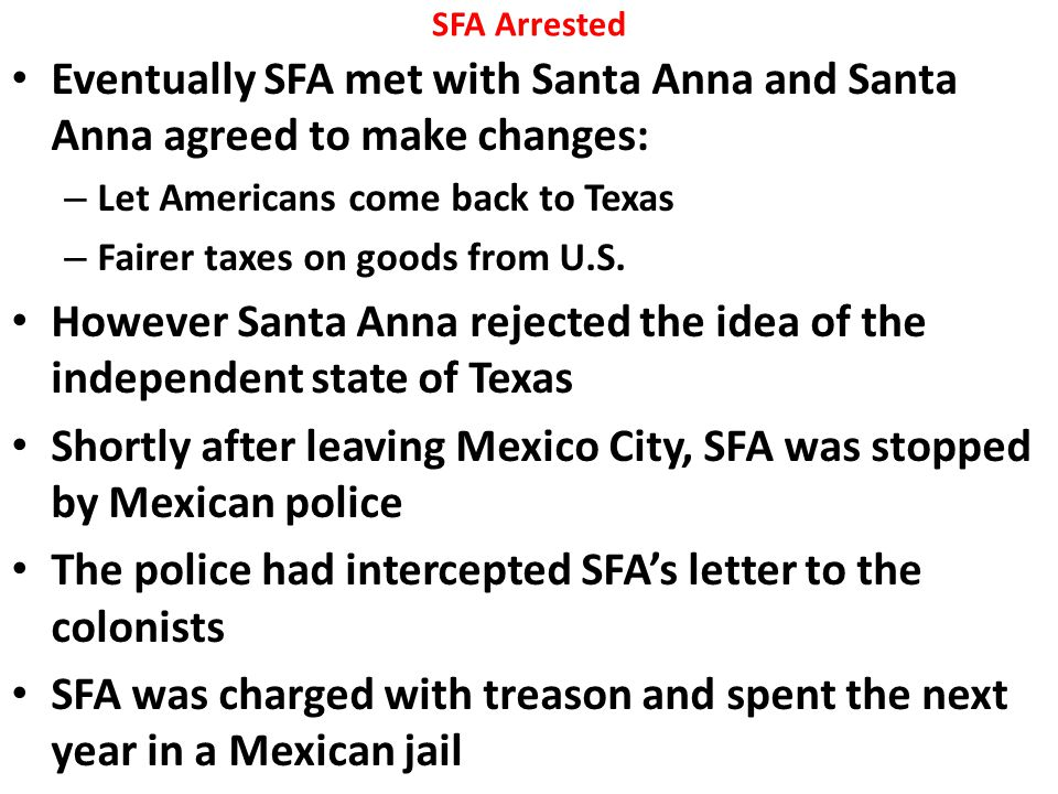 However Santa Anna rejected the idea of the independent state of Texas