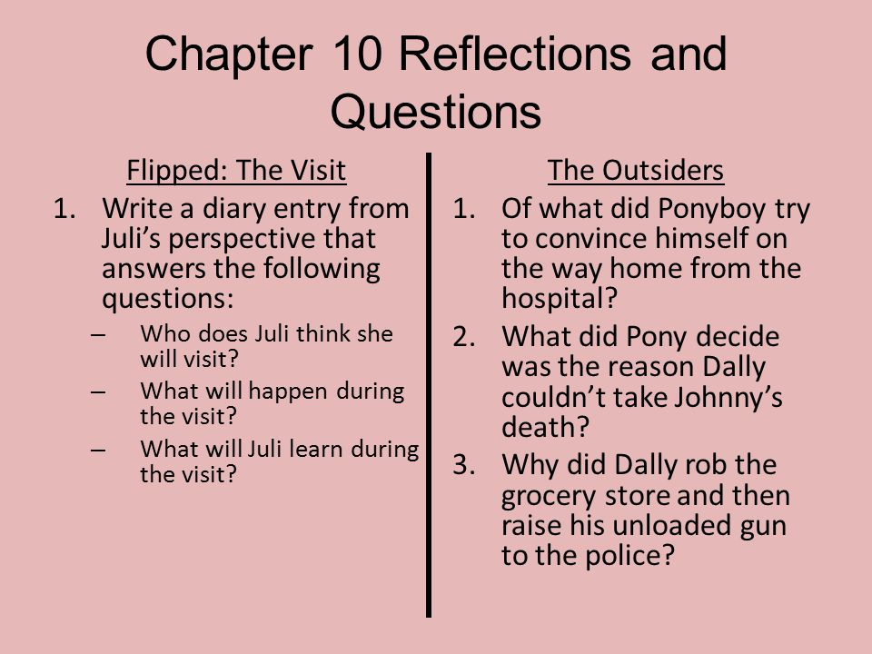 Chapter 10 Reflections and Questions