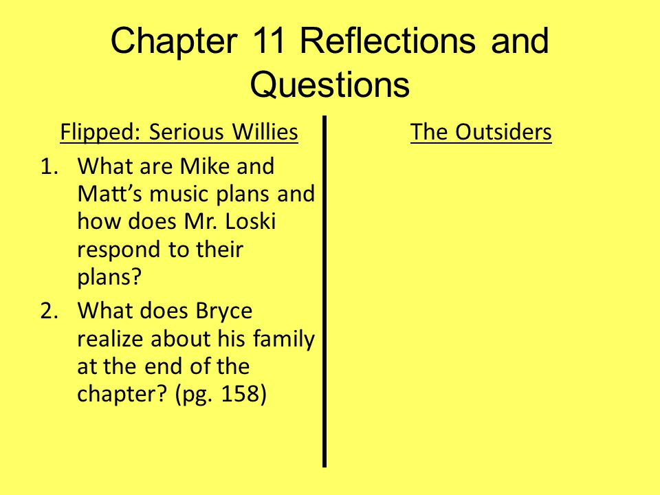 Chapter 11 Reflections and Questions