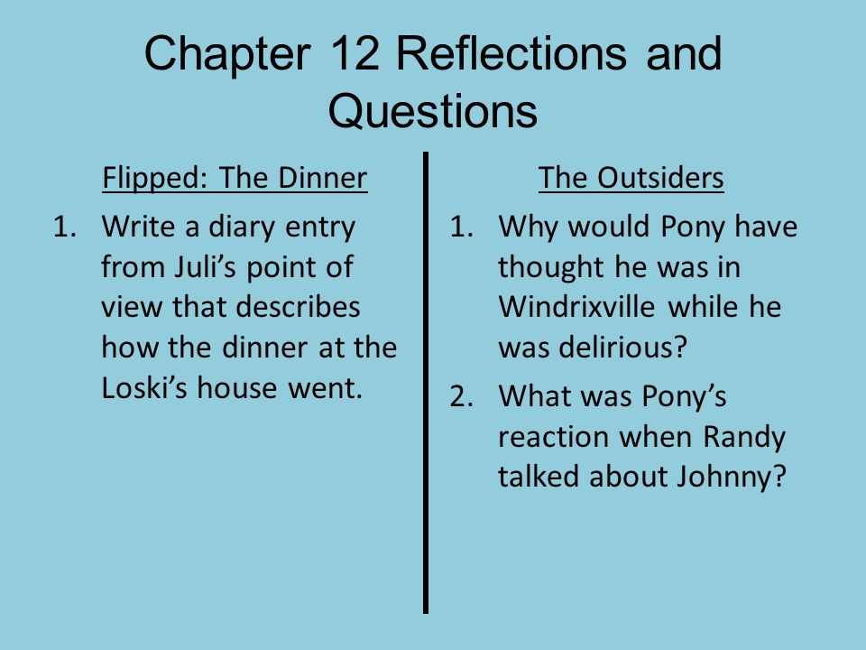 Chapter 12 Reflections and Questions