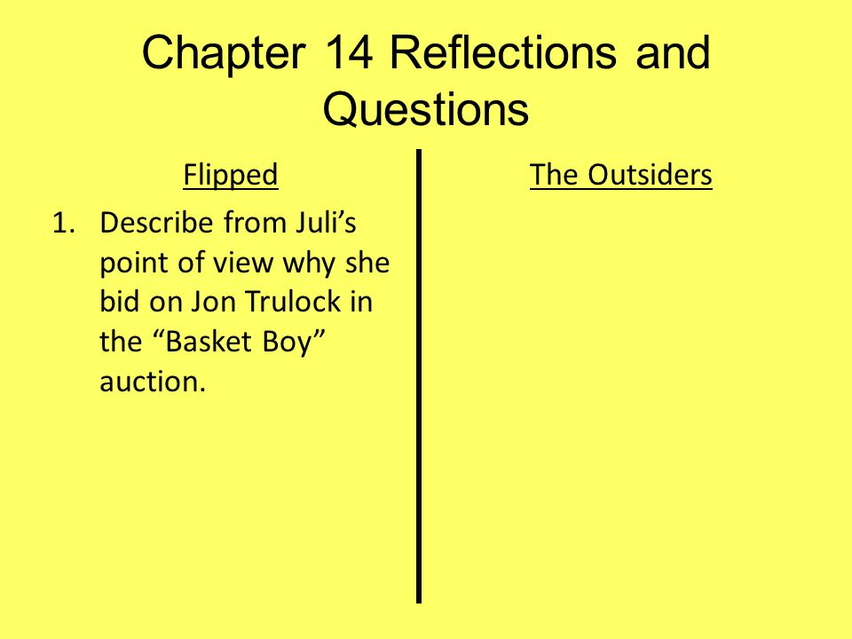 Chapter 14 Reflections and Questions