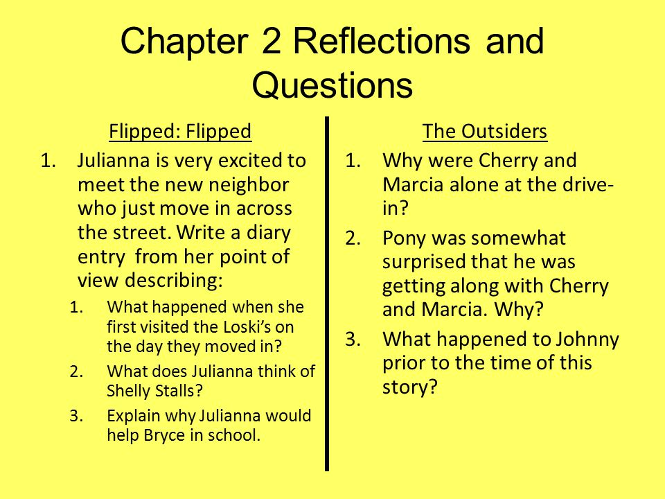 Chapter 2 Reflections and Questions