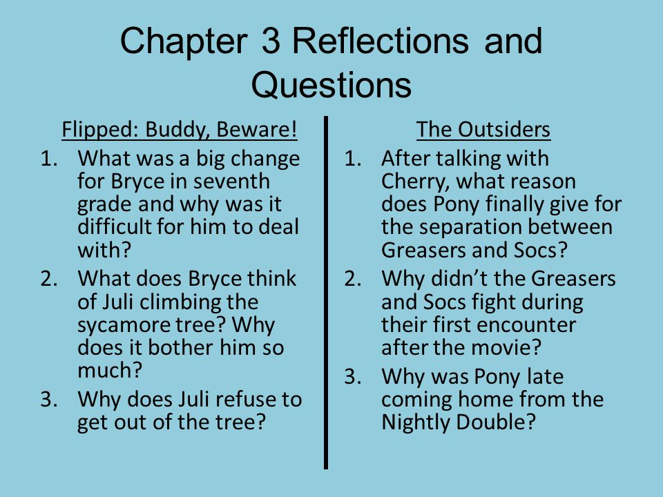 Chapter 3 Reflections and Questions