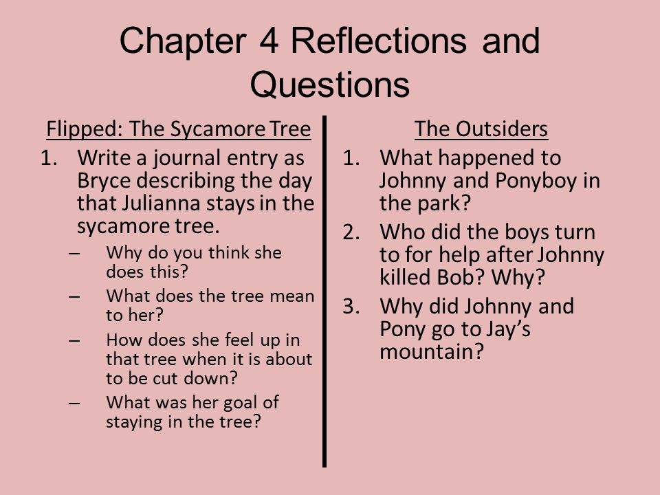 Chapter 4 Reflections and Questions