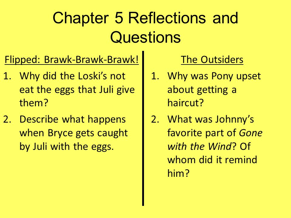 Chapter 5 Reflections and Questions