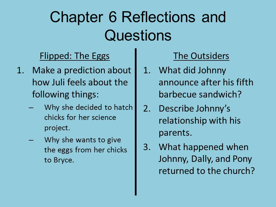 Chapter 6 Reflections and Questions