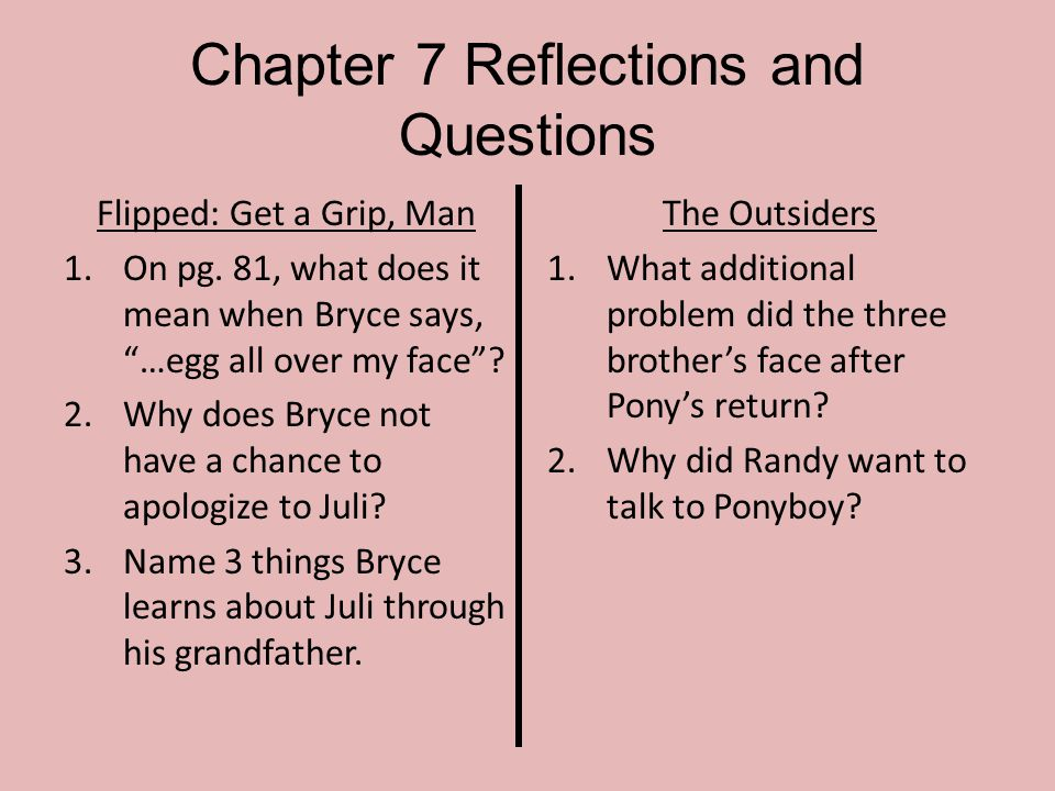 Chapter 7 Reflections and Questions