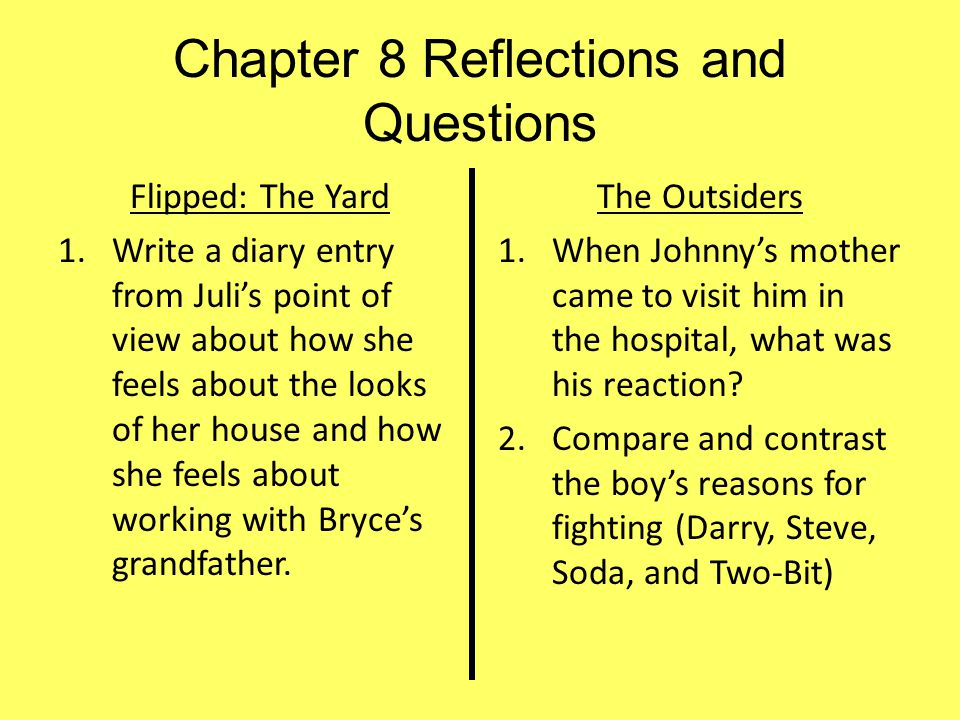 Chapter 8 Reflections and Questions