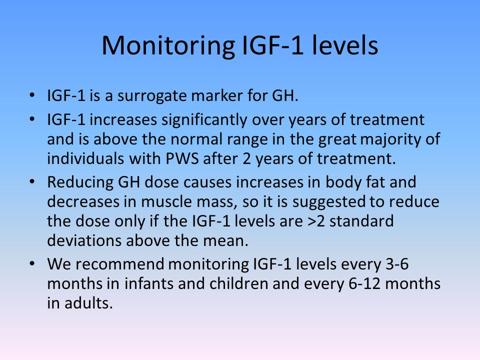 Monitoring IGF-1 levels