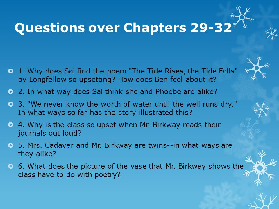Questions over Chapters 29-32