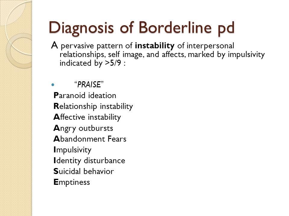 Diagnosis of Borderline pd